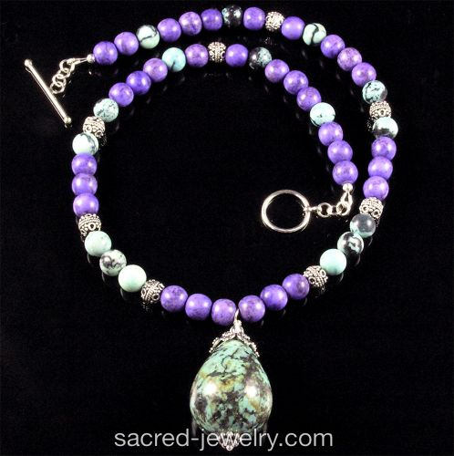 Turquoise in Purple Gemstone Necklace