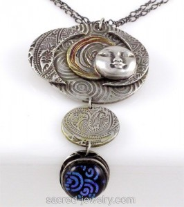 Seven Moons Fine Silver Pendant by Yol Swan