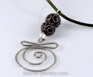 Air Pendant - Sterling Silver & Jade by Sacred Jewelry & Yoga Designs
