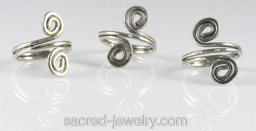 Sterling Silver Spiral Rings by Sacred Jewelry & Yoga Designs