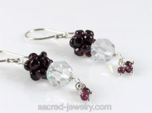Crystal and Garnet Earrings by Sacred Jewelry & Yoga Designs