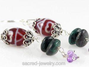 Dzi Turquoise Earrings by Sacred Jewelry & Yoga Designs
