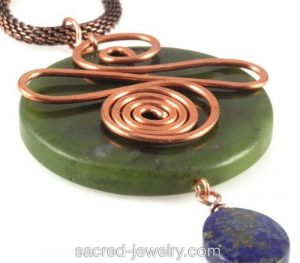 Jade Copper Pendant by Sacred Jewelry & Yoga Designs