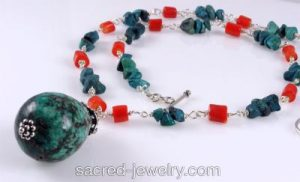 Turquoise & coral necklace by Sacred Jewelry & Yoga Designs