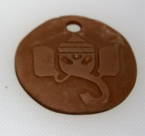 Dried bronze clay Ganesh pendant