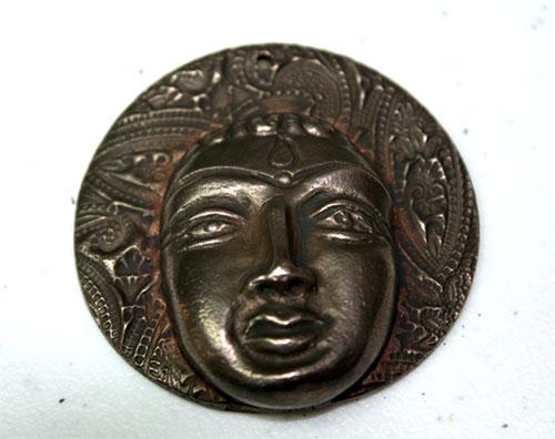 Bronze clay devi pendant