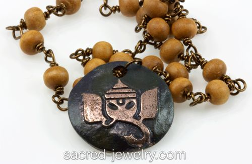 Ganesha Bronze Pendant by Sacred Jewelry & Yoga Designs
