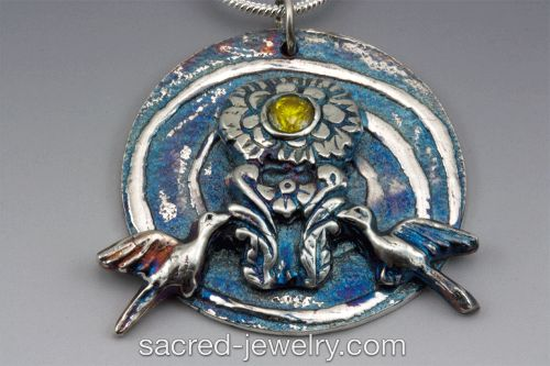 Peace, Fine Silver Pendant by Sacred Jewelry & Yoga Designs